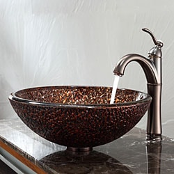 KRAUS Venus Glass Vessel Sink in Brown with Riviera Faucet in Oil Rubbed Bronze - Thumbnail 1