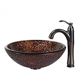 KRAUS Venus Glass Vessel Sink in Brown with Riviera Faucet in Oil Rubbed Bronze