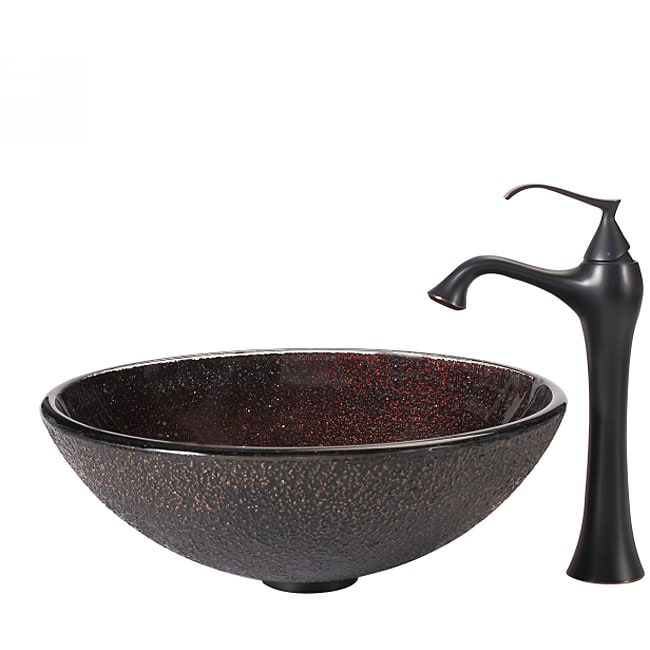 KRAUS Callisto Glass Vessel Sink in Brown with Ventus Faucet in Oil Rubbed Bronze