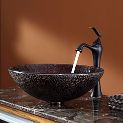 KRAUS Callisto Glass Vessel Sink in Brown with Ventus Faucet in Oil Rubbed Bronze - Thumbnail 1