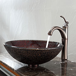KRAUS Callisto Glass Vessel Sink in Brown with Riviera Faucet in Oil Rubbed Bronze - Thumbnail 1