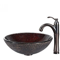 KRAUS Callisto Glass Vessel Sink in Brown with Riviera Faucet in Oil Rubbed Bronze