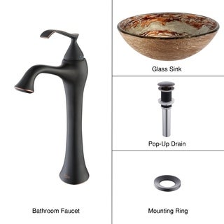 Kraus 4-in-1 Bathroom Set C-GV-651-12mm-15000 Ares Glass Vessel Sink, Ventus Faucet, Pop Up Drain, Mounting Ring ORB