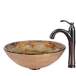 KRAUS Ares Glass Vessel Sink in Gold with Riviera Faucet in Oil Rubbed Bronze