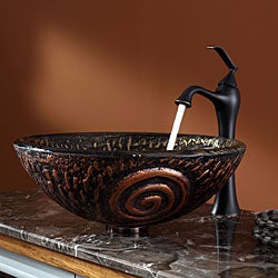KRAUS Luna Glass Vessel Sink in Brown with Ventus Faucet in Oil Rubbed Bronze