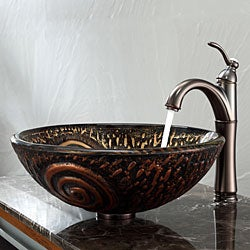 KRAUS Luna Glass Vessel Sink in Brown with Riviera Faucet in Oil Rubbed Bronze - Thumbnail 1