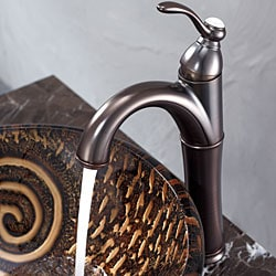 KRAUS Luna Glass Vessel Sink in Brown with Riviera Faucet in Oil Rubbed Bronze - Thumbnail 2