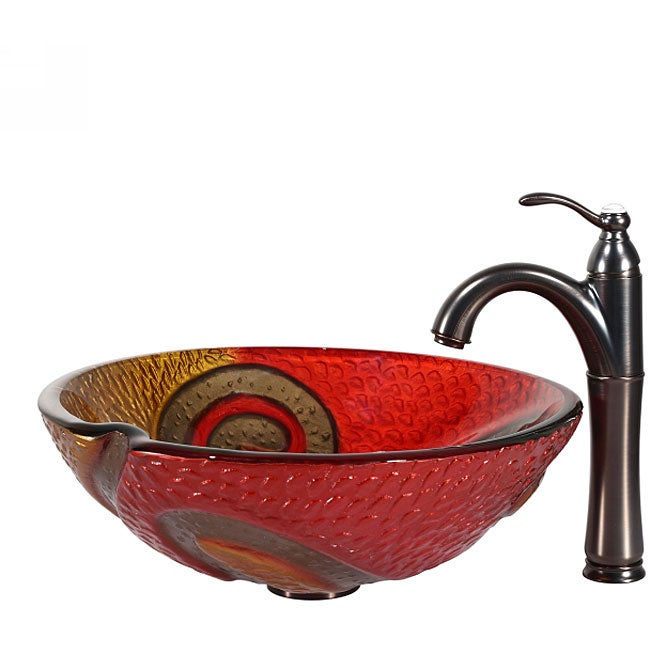 Copper Vessel Sink And Faucet Combo : Kraus Bathroom Combo Set Copper Snake Glass Vessel Sink/Riviera Faucet ...