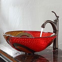 Kraus Bathroom Combo Set Copper Snake Glass Vessel Sink/Riviera Faucet - Thumbnail 1