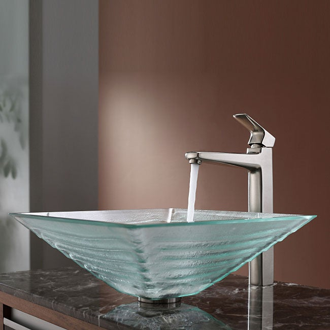 Kraus Bathroom Combo Set Clear Alexandrite Glass Vessel Sink/Faucet