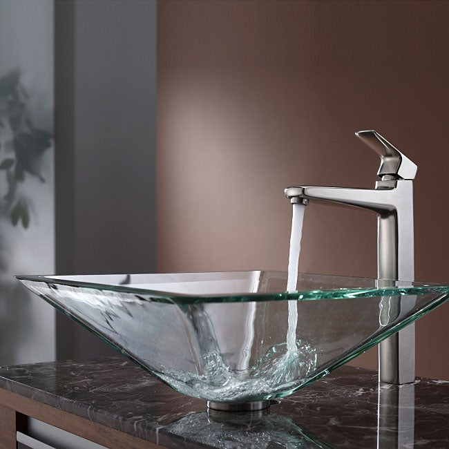 Square Glass Vessel Sink : KRAUS Square Glass Vessel Sink in Clear with Pop-Up Drain and Mounting ...
