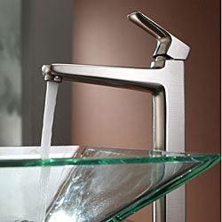 KRAUS Square Glass Vessel Sink in Clear with Virtus Faucet in Brushed Nickel - Thumbnail 1