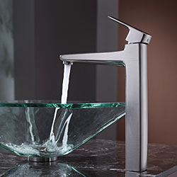 KRAUS Square Glass Vessel Sink in Clear with Virtus Faucet in Brushed Nickel - Thumbnail 2