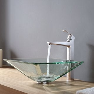 KRAUS Square Glass Vessel Sink in Clear with Virtus Faucet in Chrome