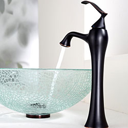 KRAUS Broken Glass Vessel Sink in Clear with Ventus Faucet in Oil Rubbed Bronze - Thumbnail 2
