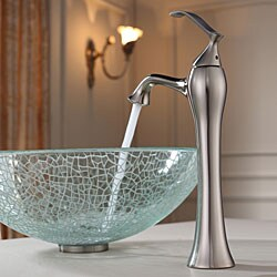 KRAUS Broken Glass Vessel Sink in Clear with Ventus Faucet in Brushed Nickel - Thumbnail 2