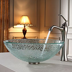KRAUS Broken Glass Vessel Sink in Clear with Ventus Faucet in Brushed Nickel