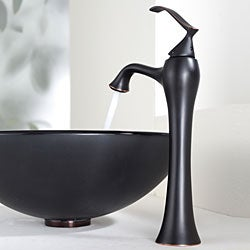 Kraus Bathroom Combo Set Frosted Black Glass Vessel Sink/Ventus Faucet