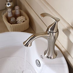 KRAUS Round Ceramic Vessel Sink in White with Ventus Basin Faucet in Brushed Nickel
