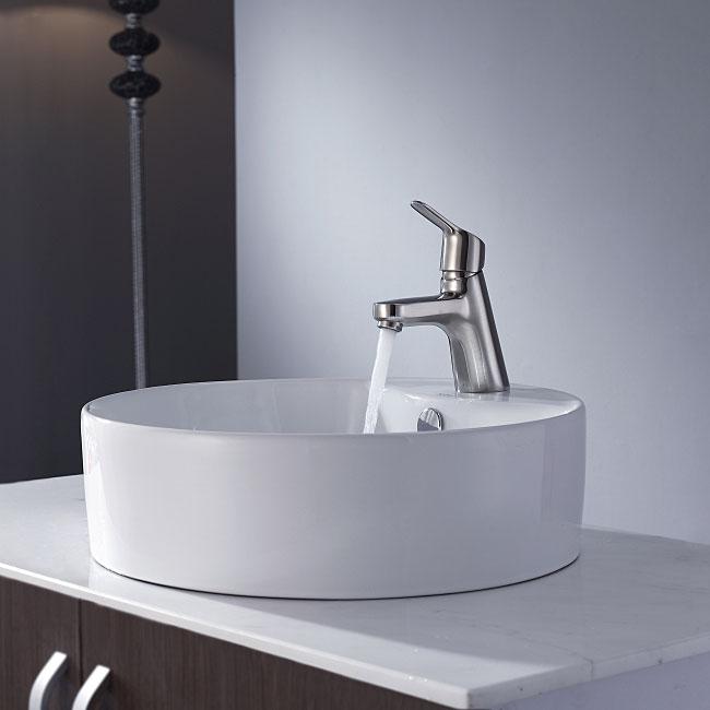 Kraus Bathroom Combo Set White Round Ceramic Sink/Ferus Bas-inch Faucet