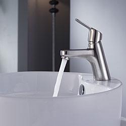 Kraus Bathroom Combo Set White Round Ceramic Sink/Ferus Bas-inch Faucet - Thumbnail 1