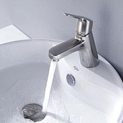 Kraus Bathroom Combo Set White Round Ceramic Sink/Ferus Bas-inch Faucet - Thumbnail 2