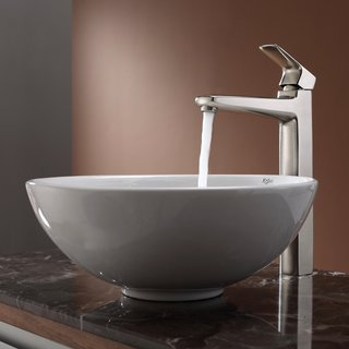 KRAUS Soft Round Ceramic Vessel Sink in White with Virtus Faucet in Brushed Nickel