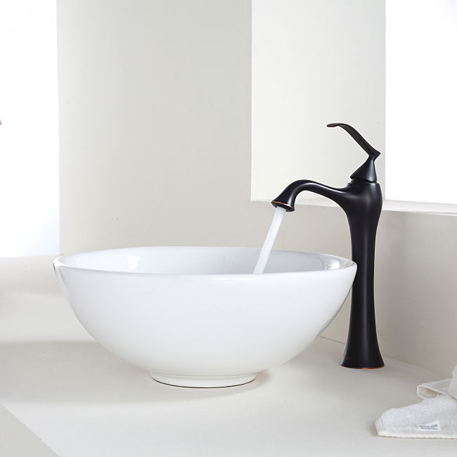 KRAUS Soft Round Ceramic Vessel Sink in White with Ventus Faucet ...