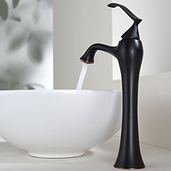 KRAUS Soft Round Ceramic Vessel Sink in White with Ventus Faucet in Oil Rubbed Bronze