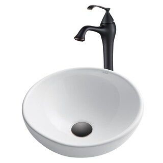 Kraus 3-in-1 Bathroom Set White Ceramic Round Vessel Sink, Ventus Single Hole Faucet and Pop Up Drain Oil Rubbed Bronze