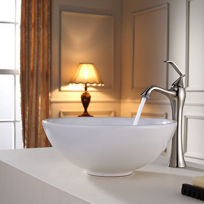 KRAUS Soft Round Ceramic Vessel Sink in White with Ventus Faucet in Brushed Nickel - Thumbnail 0