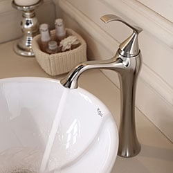 KRAUS Soft Round Ceramic Vessel Sink in White with Ventus Faucet in Brushed Nickel - Thumbnail 1