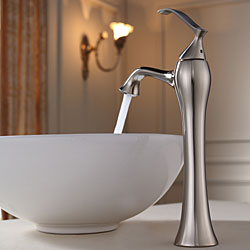 KRAUS Soft Round Ceramic Vessel Sink in White with Ventus Faucet in Brushed Nickel - Thumbnail 2