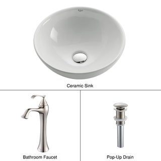 Kraus 3-in-1 Bathroom Set White Ceramic Round Vessel Sink, Ventus Single Hole Faucet and Pop Up Drain in Brushed Nickel
