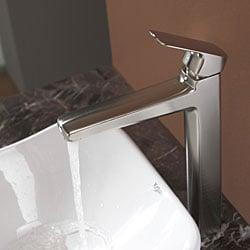 KRAUS Tulip Ceramic Vessel Sink in White with Virtus Faucet in Brushed Nickel - Thumbnail 1