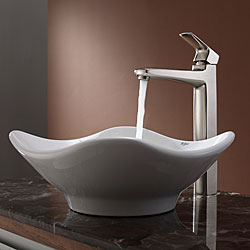 KRAUS Tulip Ceramic Vessel Sink in White with Virtus Faucet in Brushed Nickel