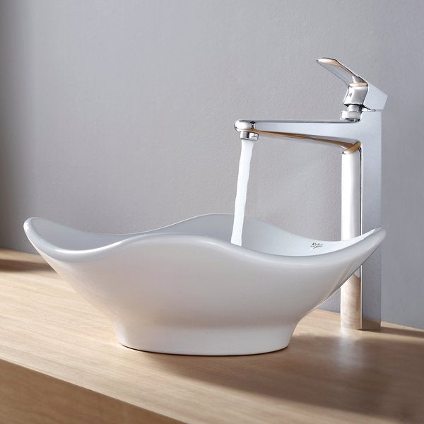 KRAUS Tulip Ceramic Vessel Sink in White with Virtus Faucet in Chrome