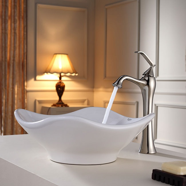 KRAUS Tulip Ceramic Vessel Sink in White with Ventus Faucet in Brushed Nickel