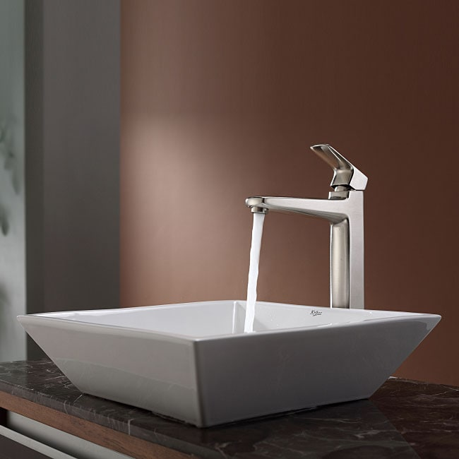 KRAUS Flat Square Ceramic Vessel Sink in White with Virtus Faucet in Brushed Nickel