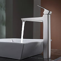 KRAUS Flat Square Ceramic Vessel Sink in White with Virtus Faucet in Brushed Nickel - Thumbnail 2