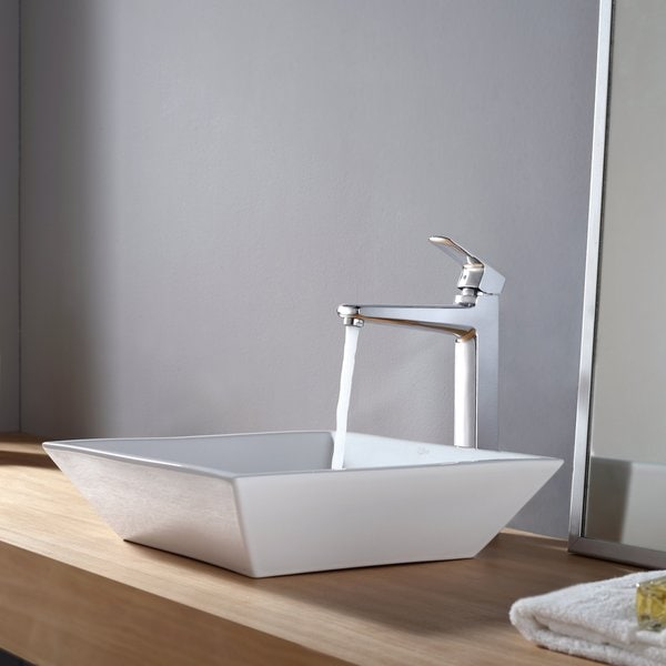 KRAUS Flat Square Ceramic Vessel Sink in White with Virtus Faucet in Chrome
