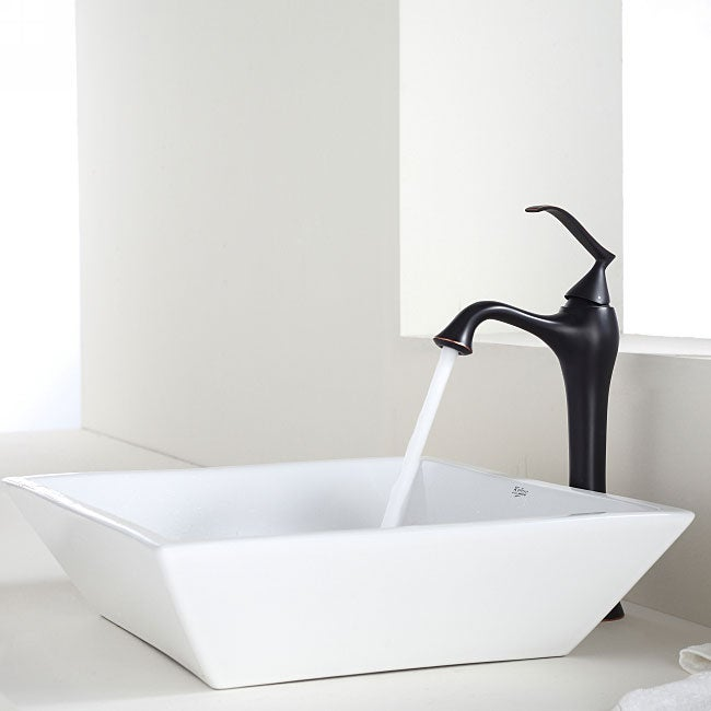 KRAUS Flat Square Ceramic Vessel Sink in White with Ventus Faucet in Oil Rubbed Bronze