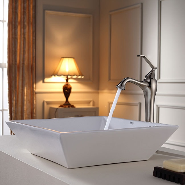 Shop Kraus Flat Square Ceramic Vessel Sink In White With Ventus Faucet In Brushed Nickel Free