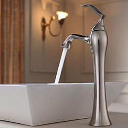 ... KRAUS Flat Square Ceramic Vessel Sink In White With Ventus Faucet In  Brushed Nickel   Thumbnail ...