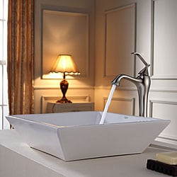 KRAUS Flat Square Ceramic Vessel Sink in White with Ventus Faucet in Brushed Nickel