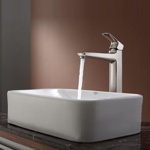 KRAUS Soft Rectangular Ceramic Vessel Sink in White with Virtus Faucet in Brushed Nickel