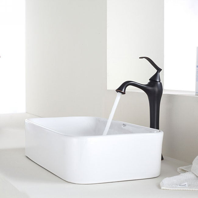 KRAUS Soft Rectangular Ceramic Vessel Sink in White with Ventus Faucet in Oil Rubbed Bronze