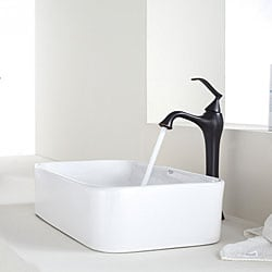Attractive KRAUS Soft Rectangular Ceramic Vessel Sink In White With Ventus Faucet In  Oil Rubbed Bronze