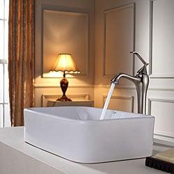 KRAUS Rectangular Ceramic Sink in White with Ventus Faucet in Brushed Nickel