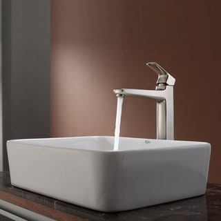 KRAUS Rectangular Ceramic Vessel Sink in White with Virtus Faucet in Brushed Nickel